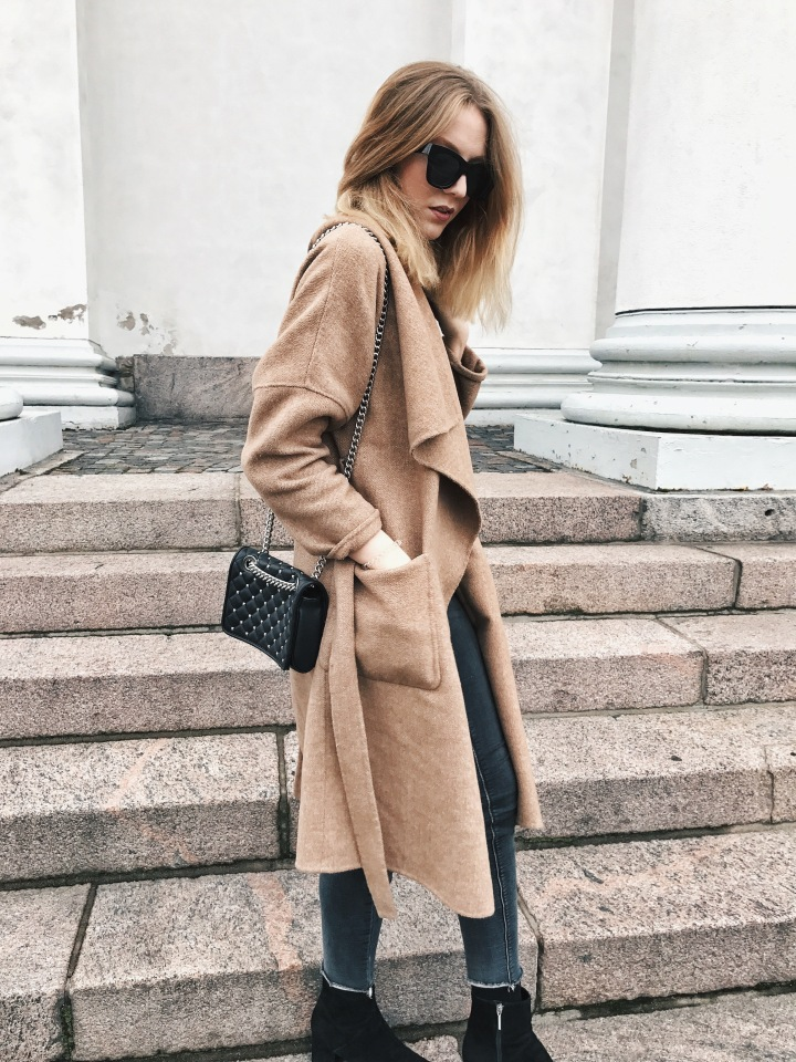 First Outfit Post: Caramel Coat & Studded Bag