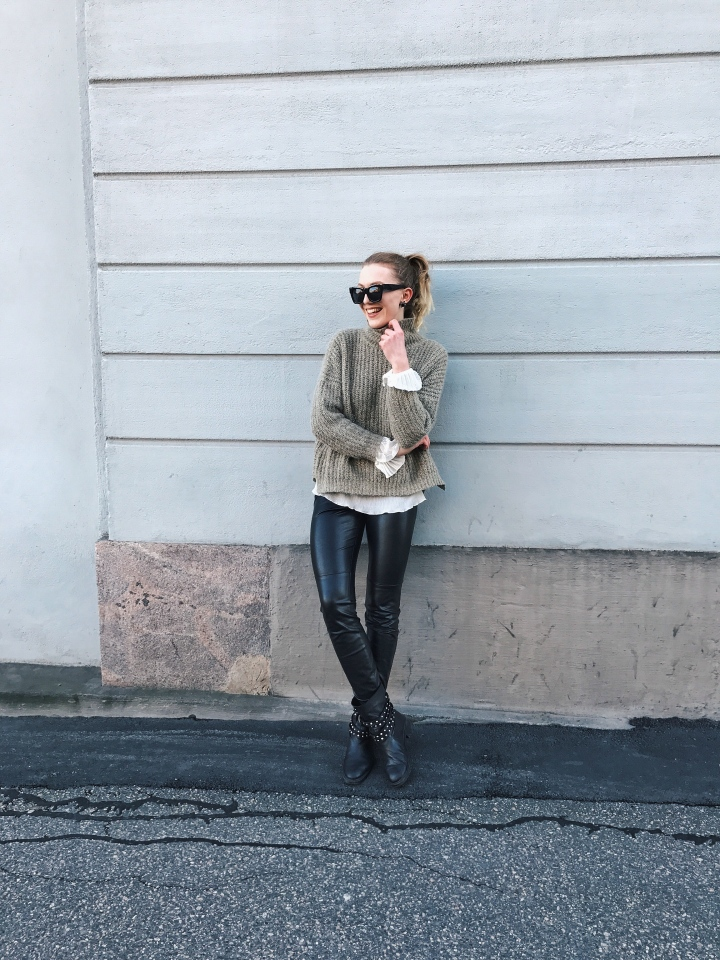 Outfit: Knitwear meets Leather